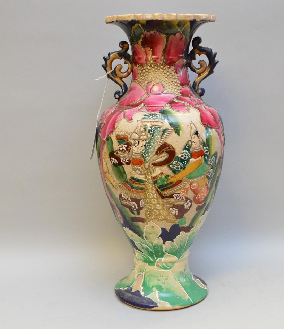 """Satsuma Warrior vase, signed, 17""""h"""
