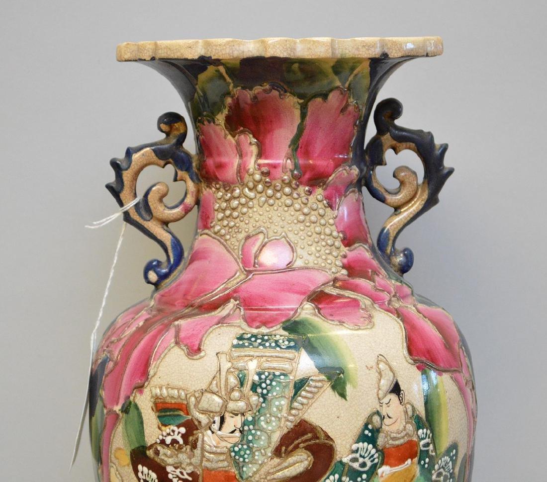 """Satsuma Warrior vase, signed, 17""""h - 2"""