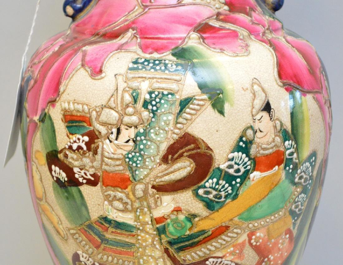 """Satsuma Warrior vase, signed, 17""""h - 3"""