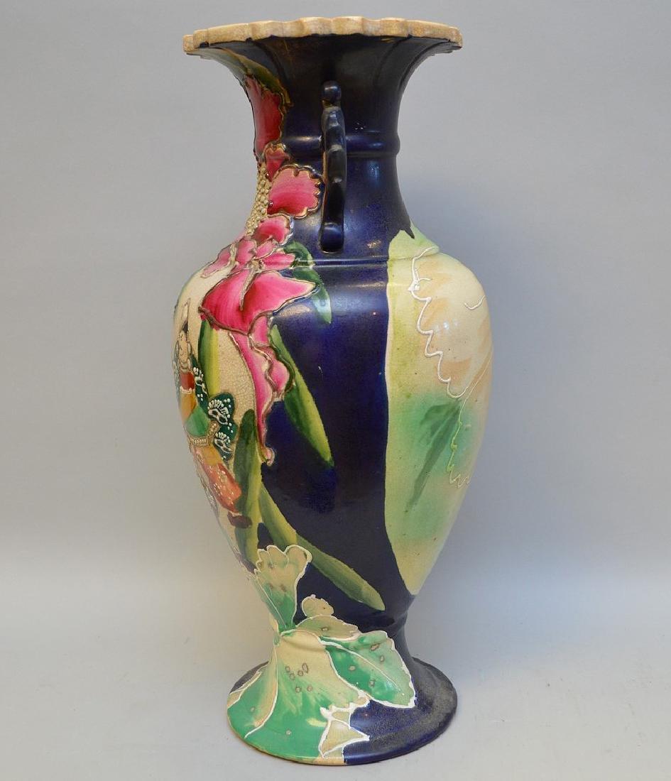 """Satsuma Warrior vase, signed, 17""""h - 4"""