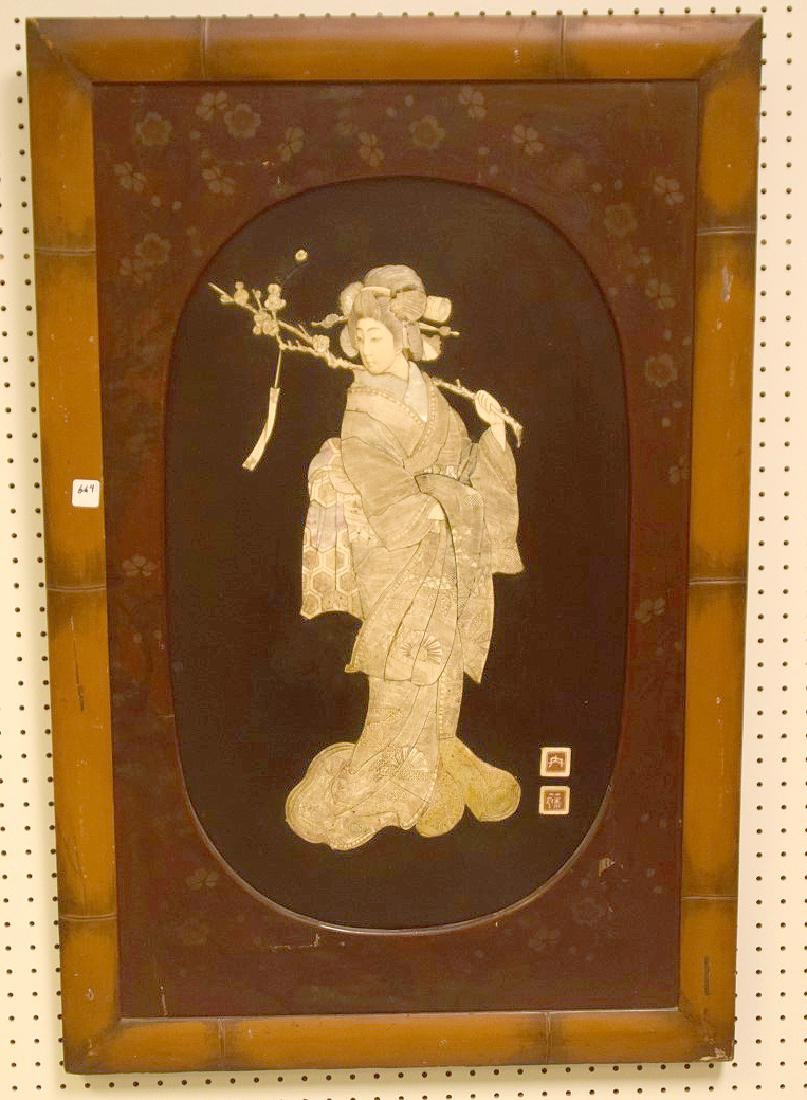 "Japanese Geisha panel, 23""h x 11 1/4""w"