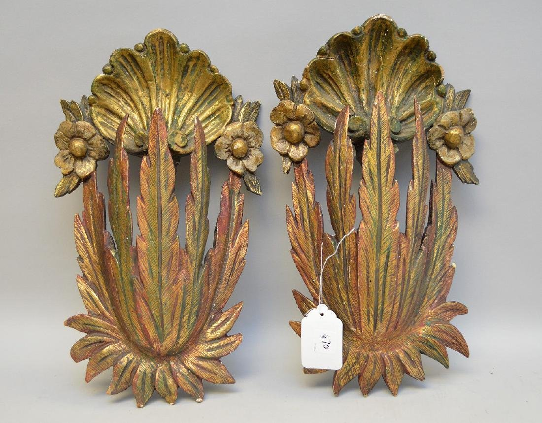 Pair gilt & burnished wall hangings, feather & shell