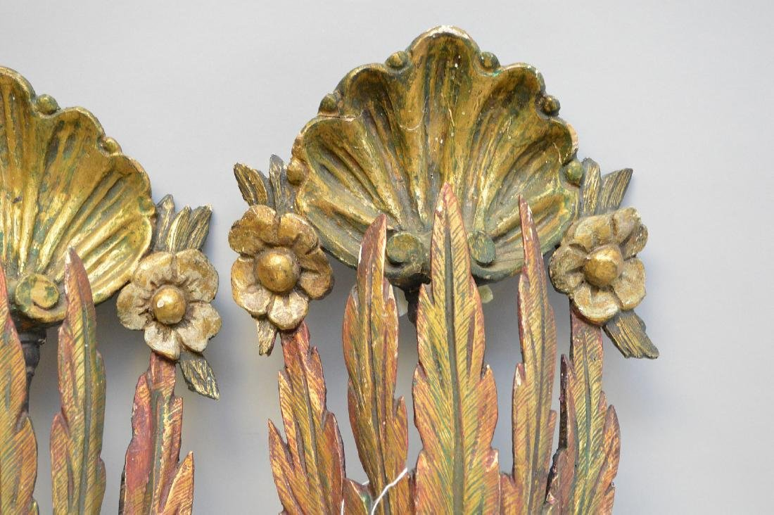 Pair gilt & burnished wall hangings, feather & shell - 2