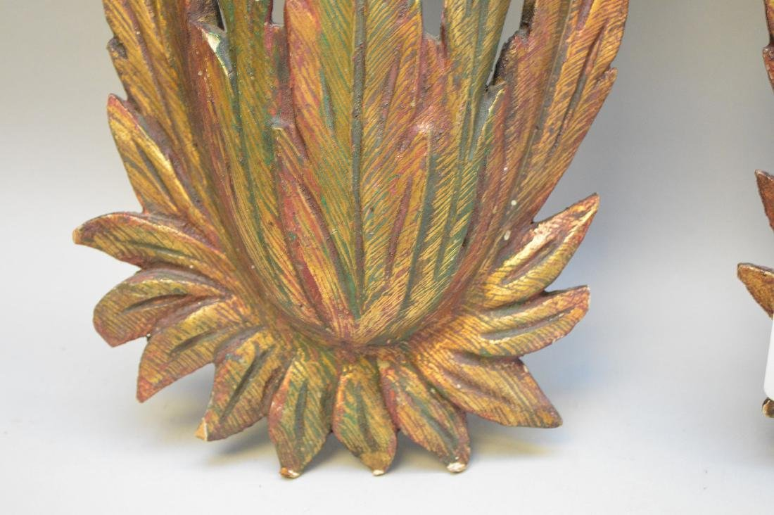 Pair gilt & burnished wall hangings, feather & shell - 3
