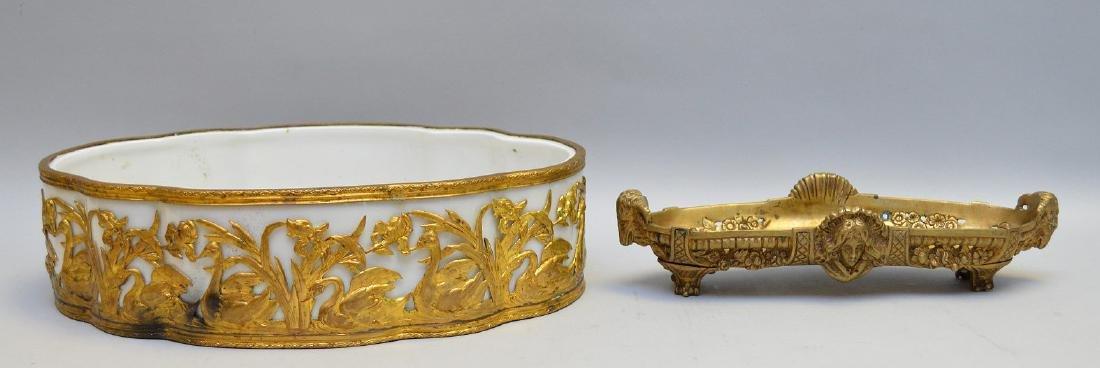 White porcelain planter/centerpiece in bronze ornate