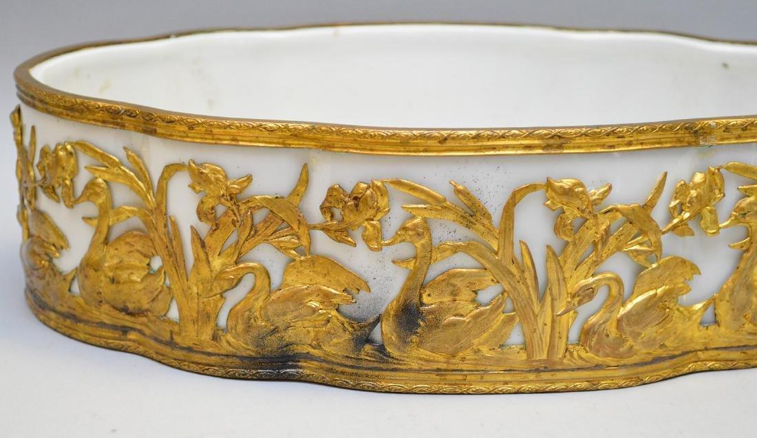 White porcelain planter/centerpiece in bronze ornate - 2