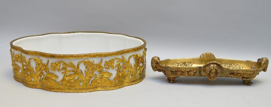 White porcelain planter/centerpiece in bronze ornate - 4