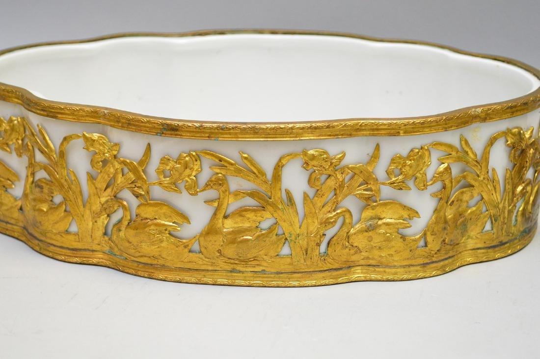 White porcelain planter/centerpiece in bronze ornate - 5