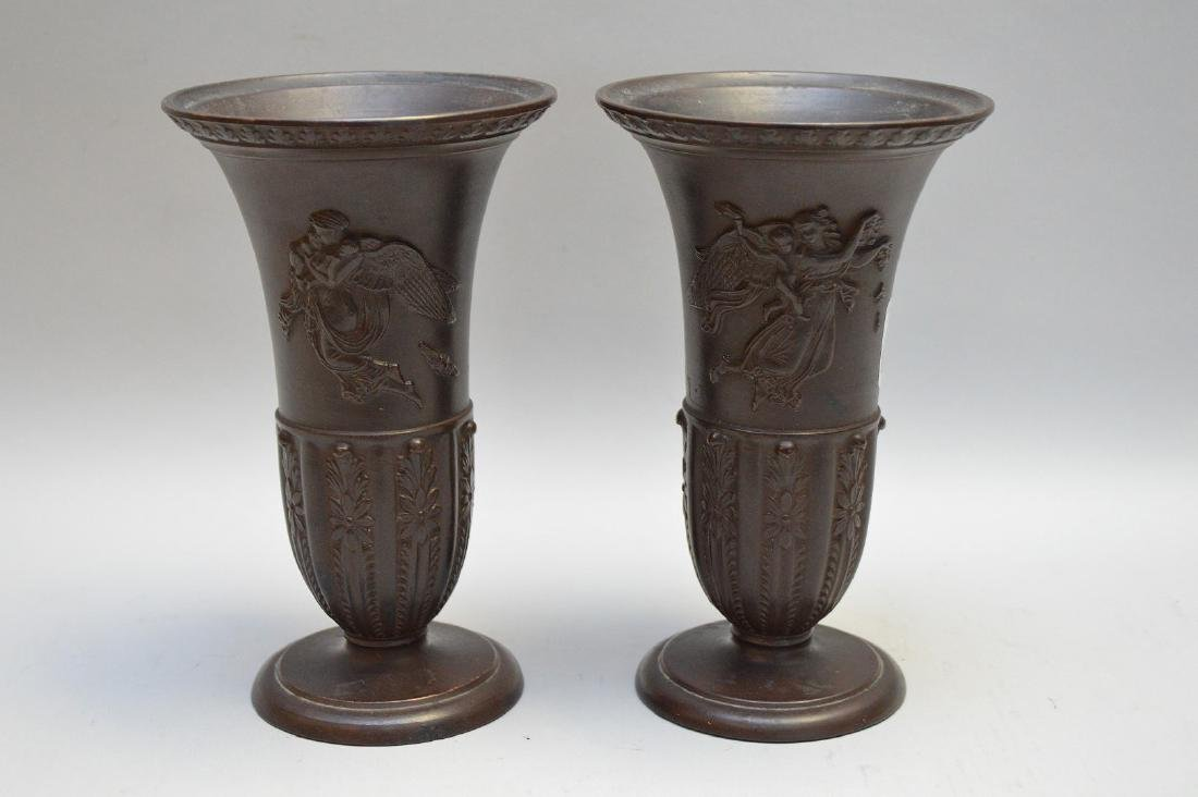 "Pair painted terracotta vases, impressed WS & S, 7""h"