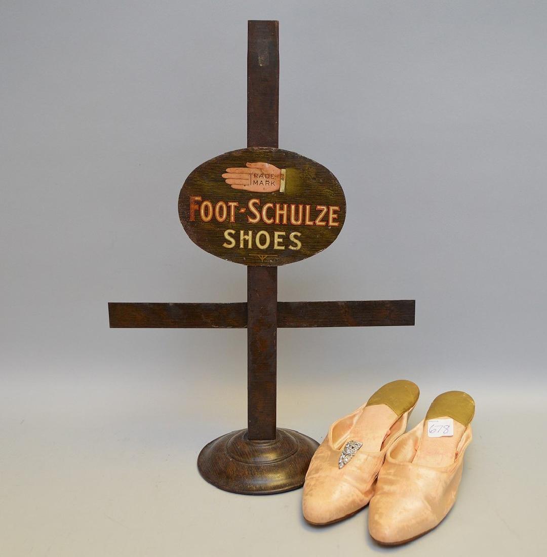 Vintage advertising piece, shoe stand, Schulze, pink