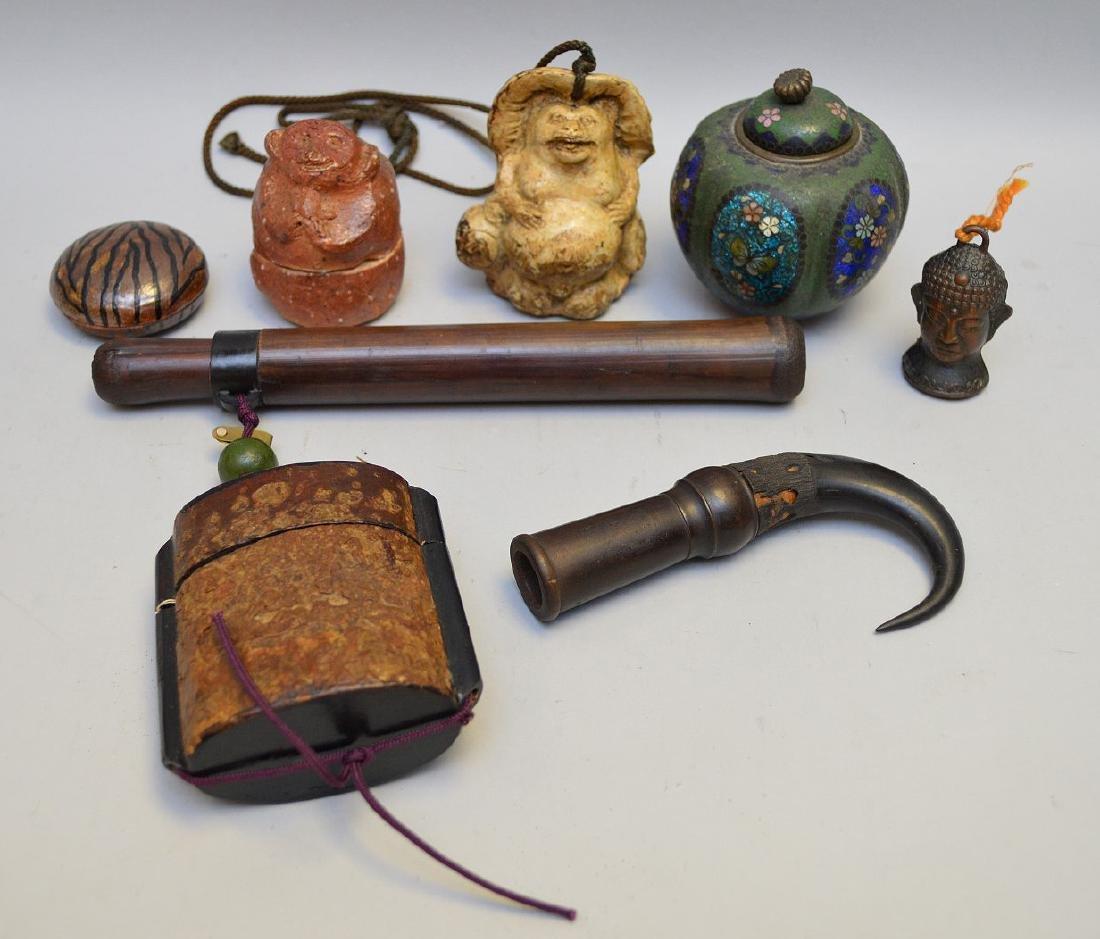 Seven Assorted Asian Articles - Lot includes a ceramic