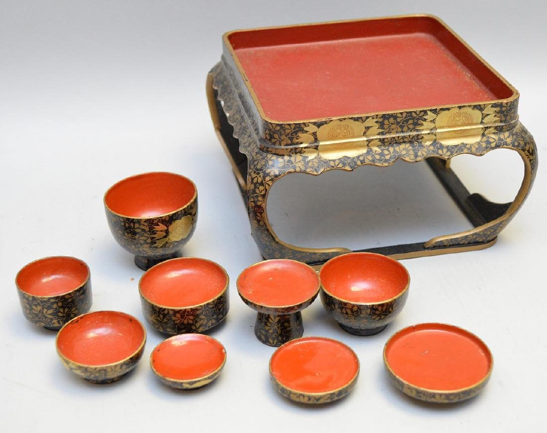 Miniature Gilt Lacquer Wooden Tea Service Set 10pcs.