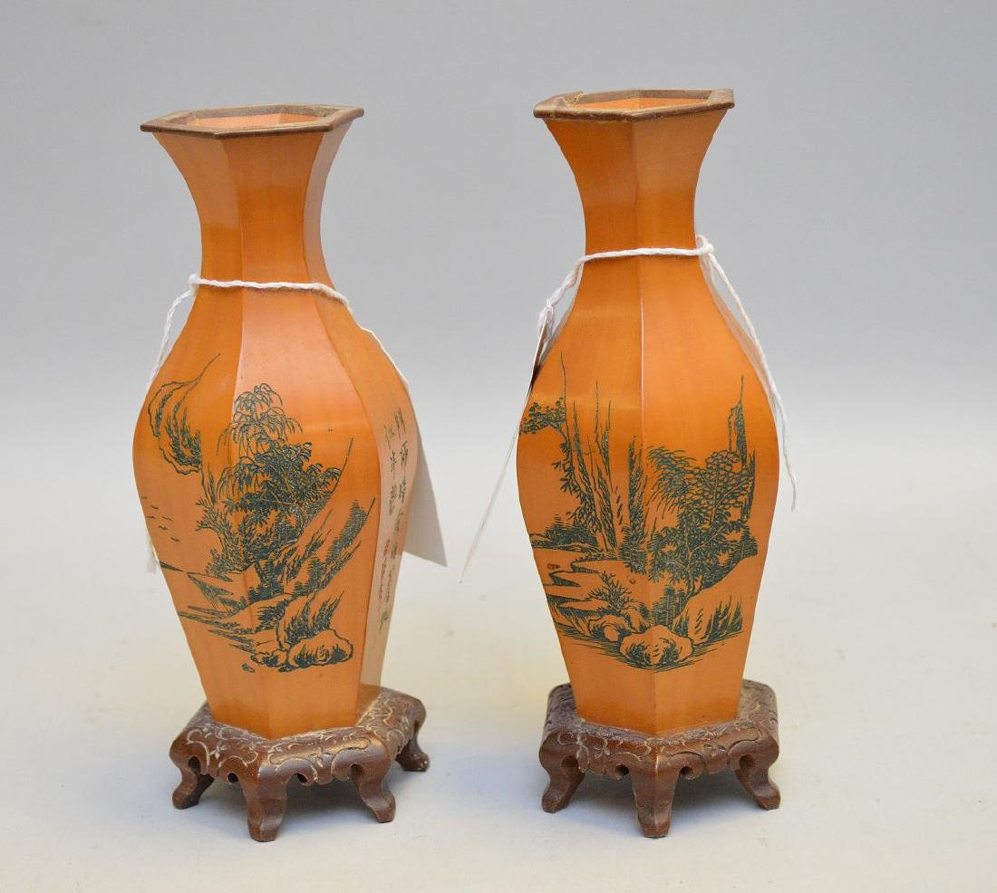 Pair Asian Wood Vases w/ Landscape - Hexagon fluted