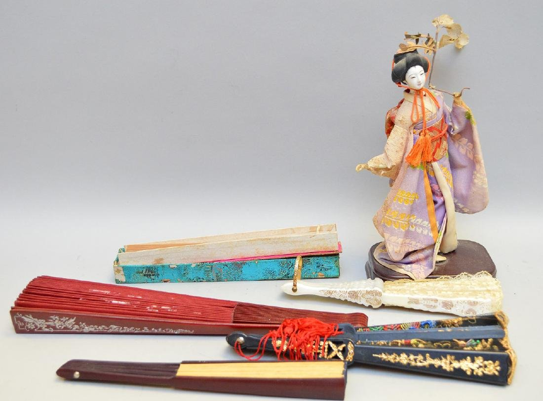 Five Vintage Japanese Fans & Geisha Figurine - four