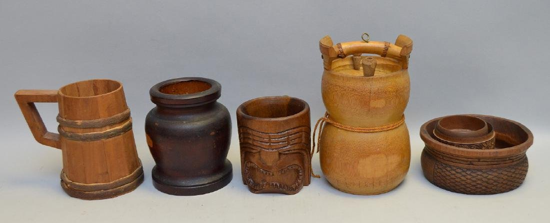 "Seven Vintage Wood Articles - Tiki mug 4 1/4"" h,"