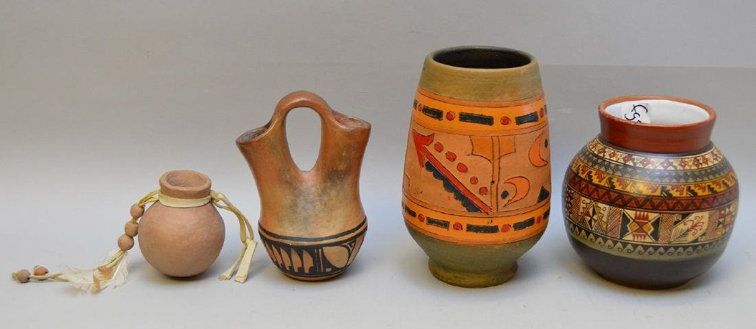Four Native & South American Repro Pottery Vessels -
