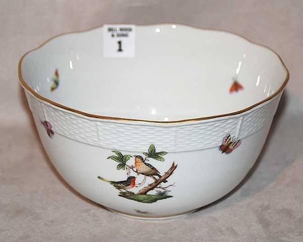 """1001: Herend round bowl, 7 1/2"""" diam. X 4""""h"""