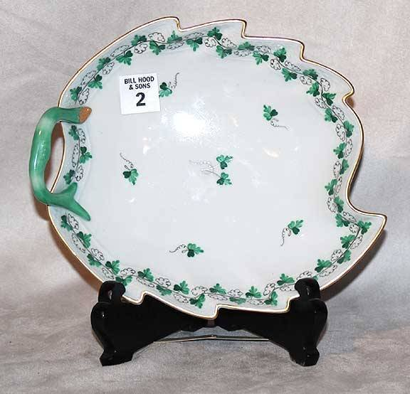 "1002: Herend shallow bowl with handle, 8 1/2""l x 8"" x 2"