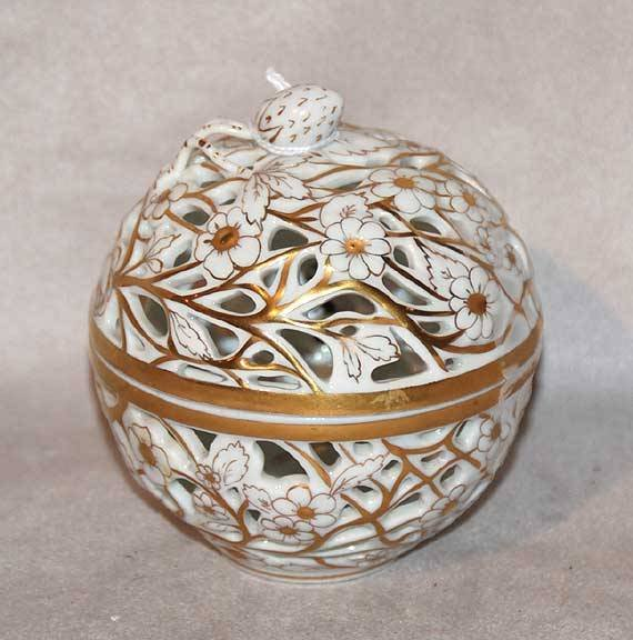 "1003: Herend reticulated small round covered bowl, 4""h"