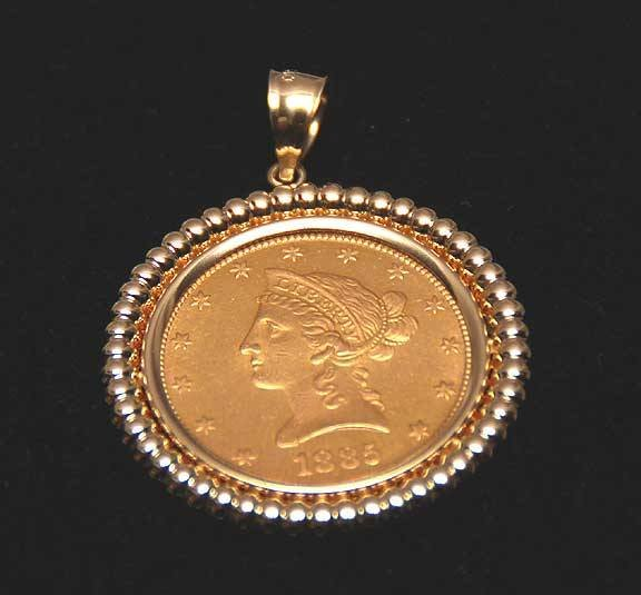 1020A: 1885 Liberty $10 US Gold coin / pendant