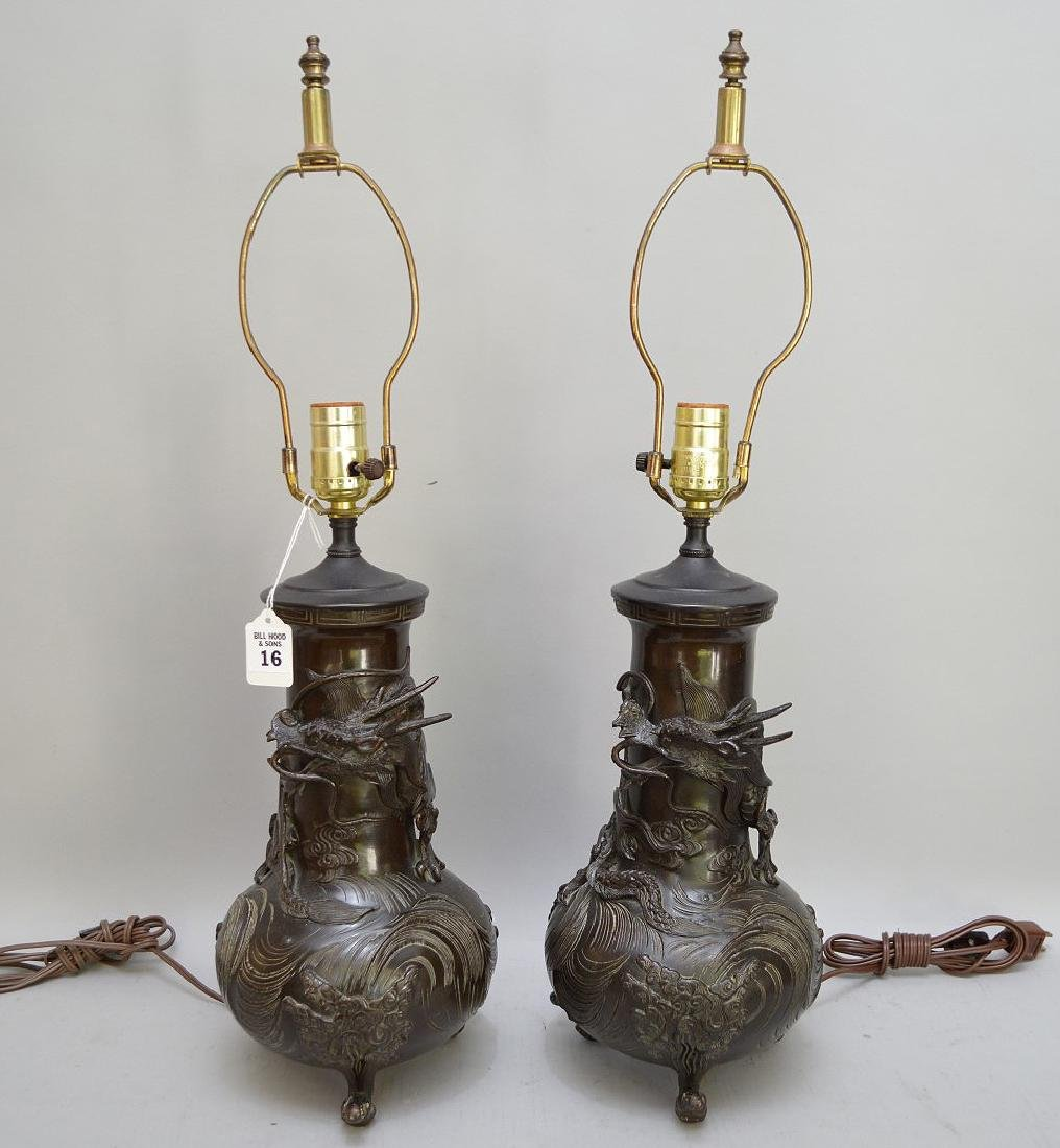 Pair of Japanese Bronze Dragon Vase Lamps - now
