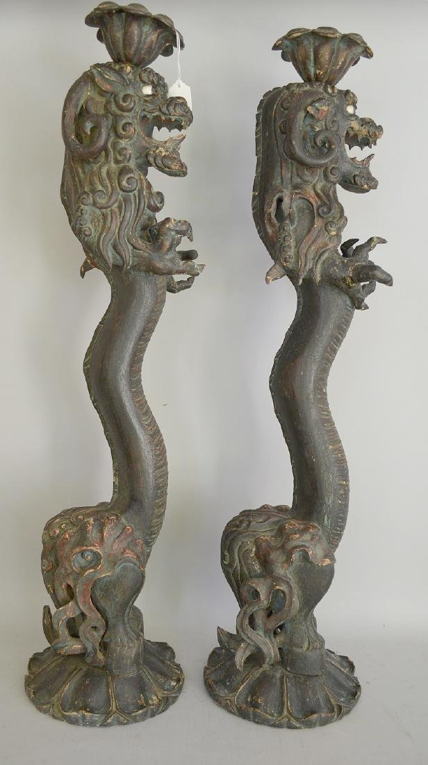 Pair of Early Japanese Carved Wood Dragon Candlesticks