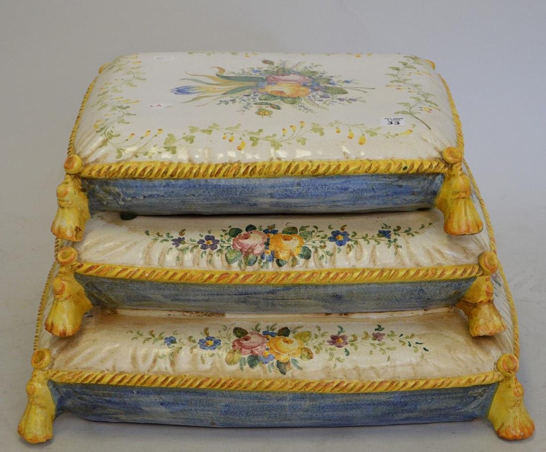 "Italian ceramic garden ""pillow"", top section removable,"