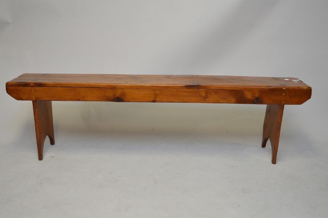 "American pine 19th c. mortise & tenon bench, 19""h x"
