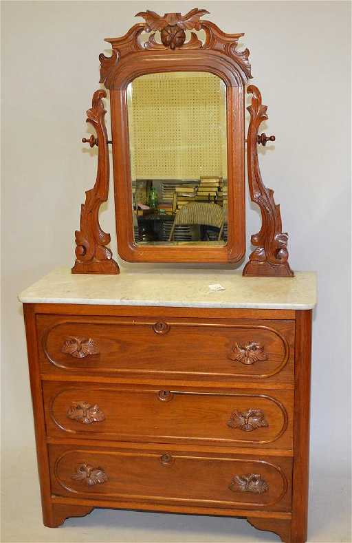 American Walnut Cottage Dresser With Carved Handles And