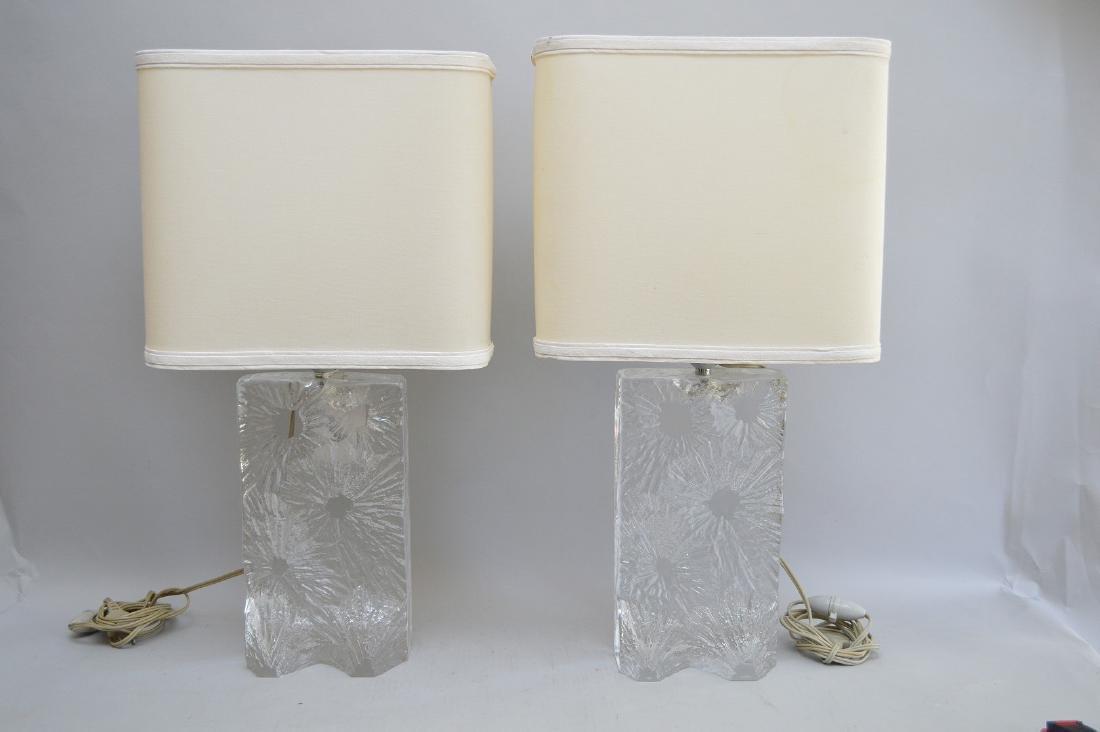 Pair Daum France glass sculpture lamps, floral motif,