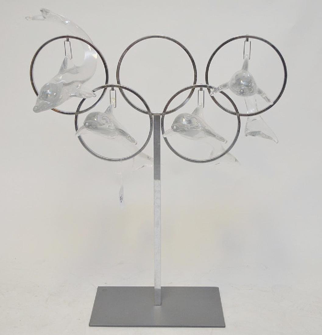 Olympic chrome sculpture with 4 crystal Daum France