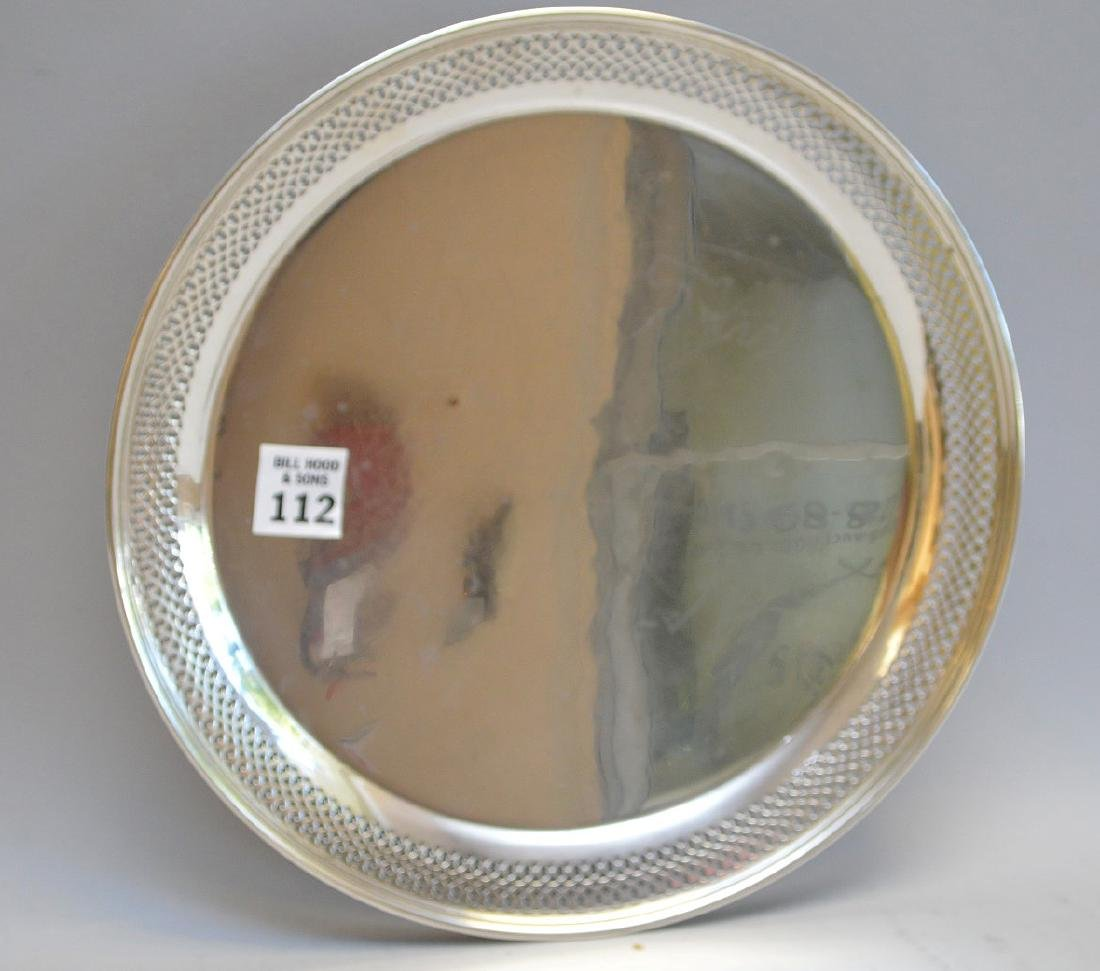 Tiffany & Co. round serving tray with reticulated