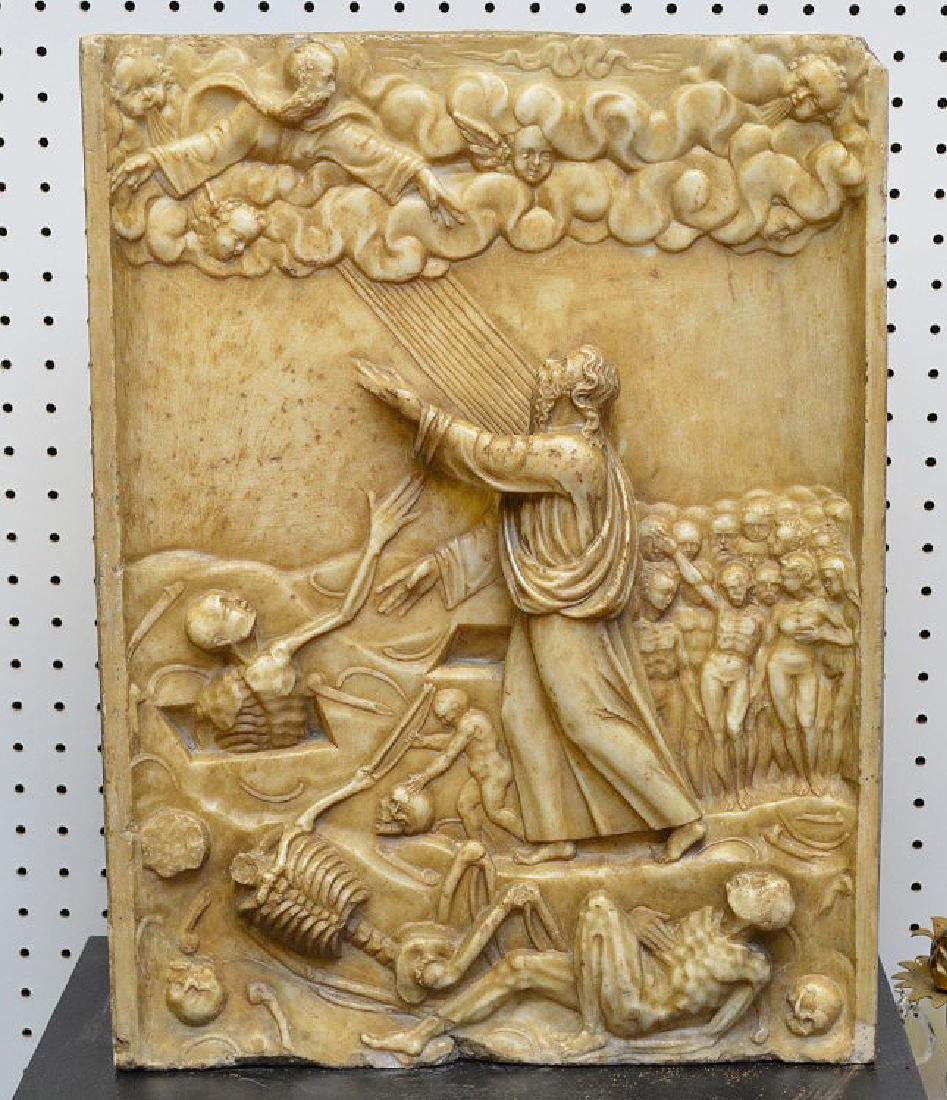 Medieval carved stone religious sculpture, 20-3/4 tall