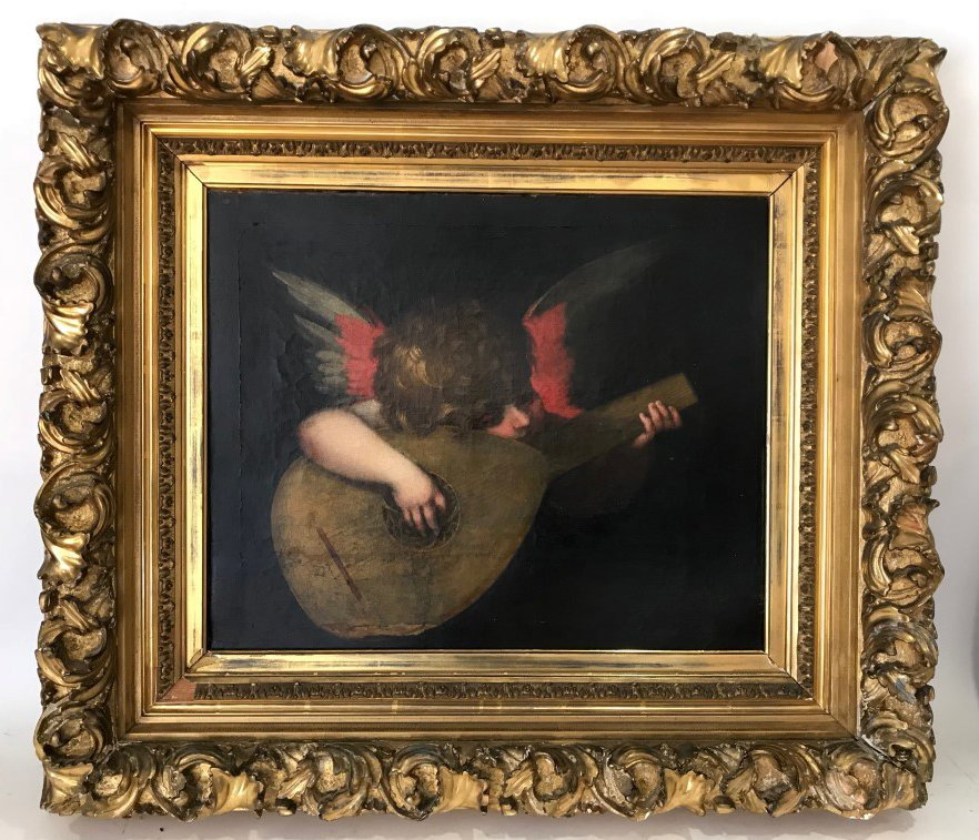 18/19th century Old Master Style oil on canvas. Angel