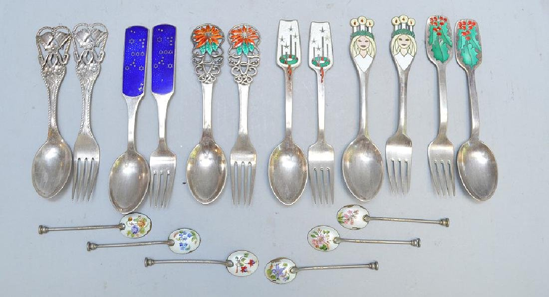 Lot of 18 Sterling Silver and Enamel Spoons & Forks -