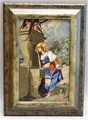 Framed Pietra Dura Plaque of Woman & Fountain - Inlaid