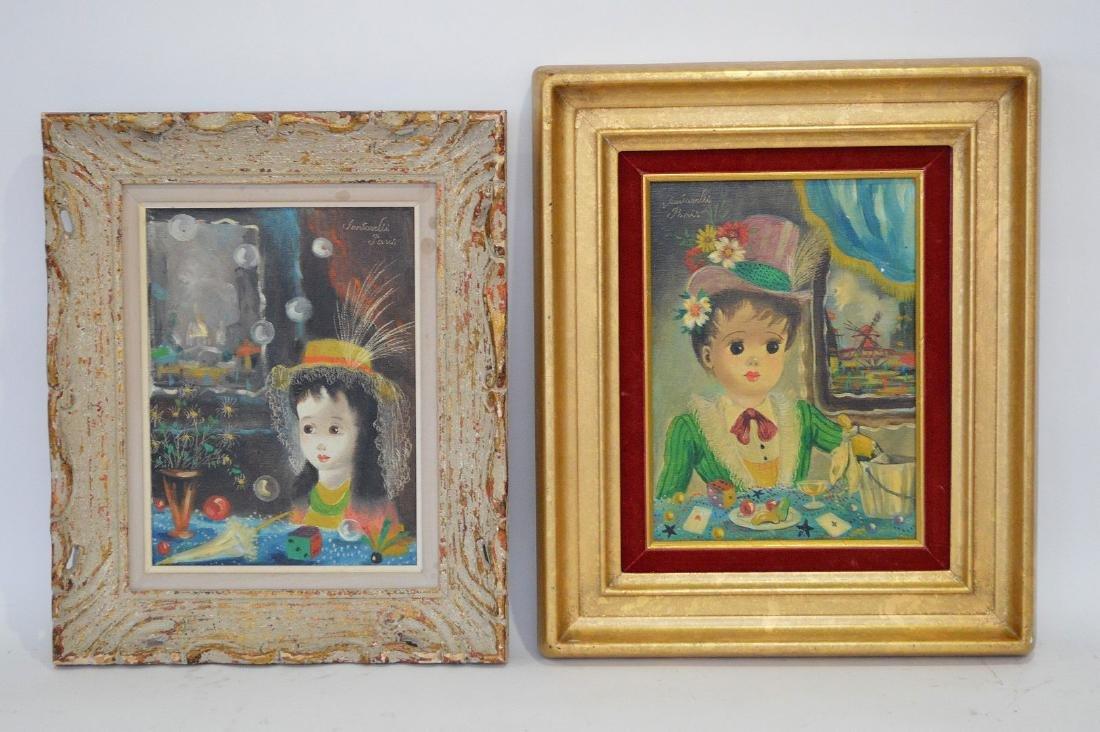 Pair of Paintings by Santorelli, Paris, 2 young girls,