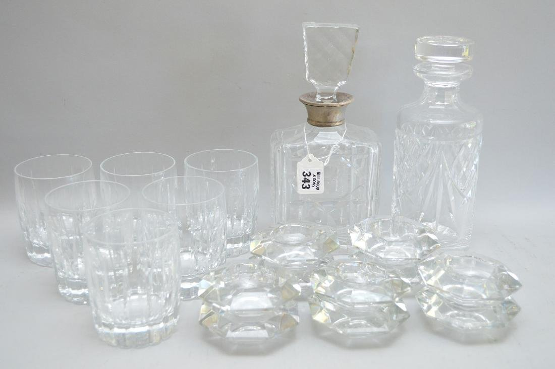 2 crystal decanters (1) Waterford (1) English with