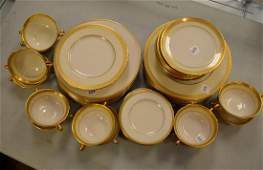 Lenox partial dinner service white  gilt decorated