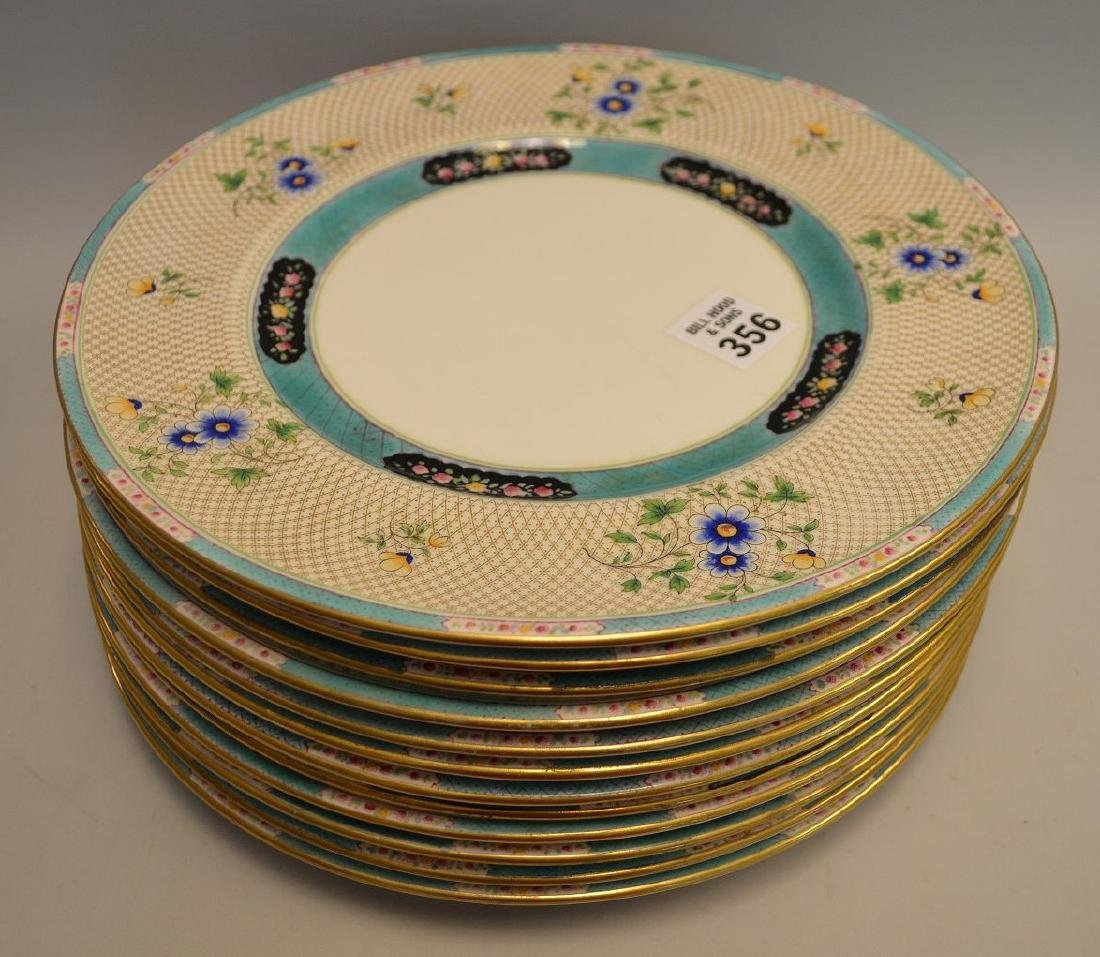 12 Royal Doulton plates, turquoise and blue floral