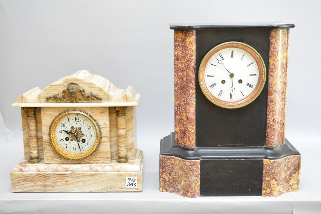 Marble/onyx antique mantle clock, gilt metal mounts,