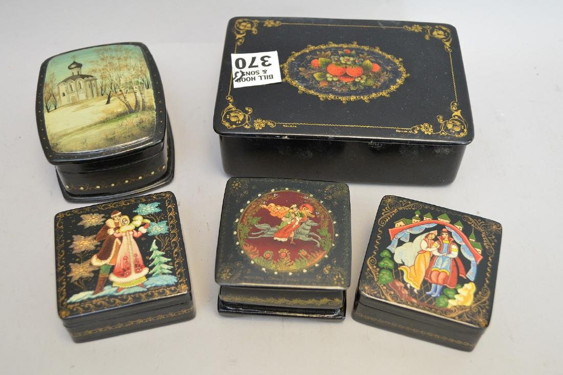 """Lot of Russian lacquer boxes, 2 5/8"""" to 5 1/4"""""""