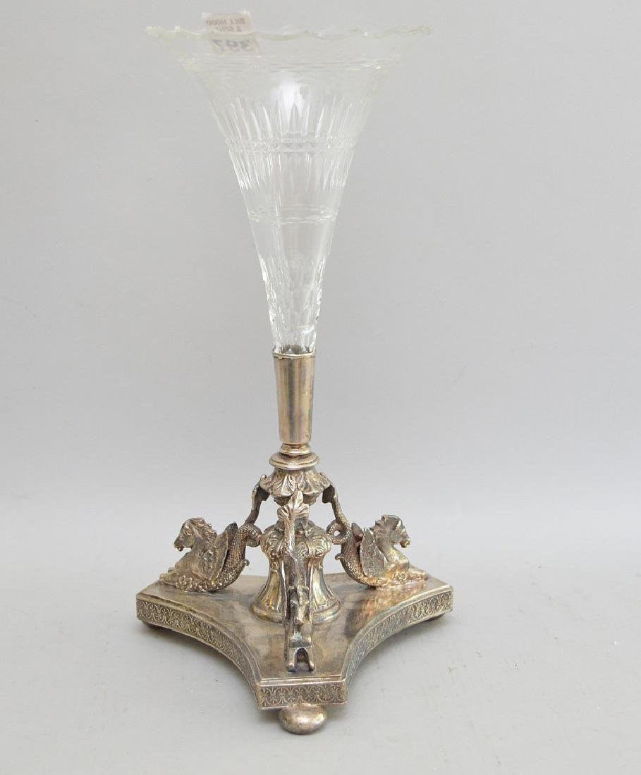 Inverted glass vase in fitted, footed, mythological 3