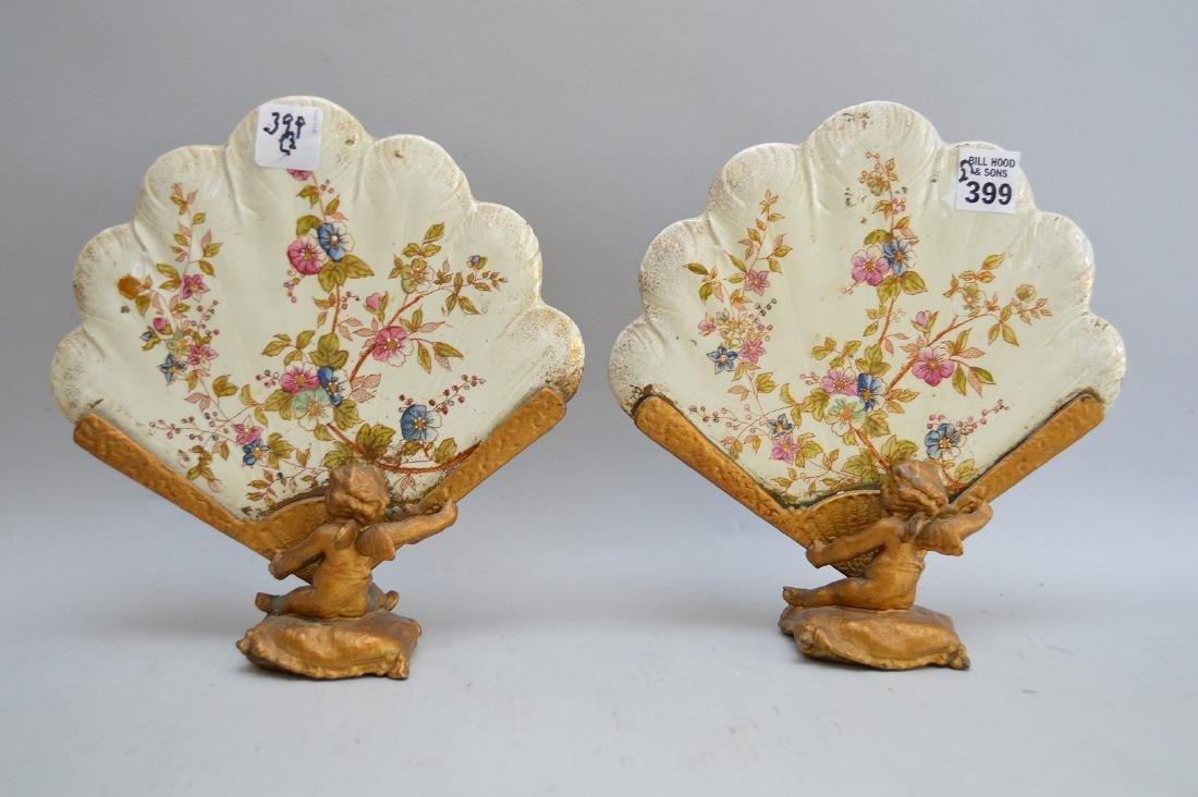19th c. bronze & ceramic table fans with cherub motif,