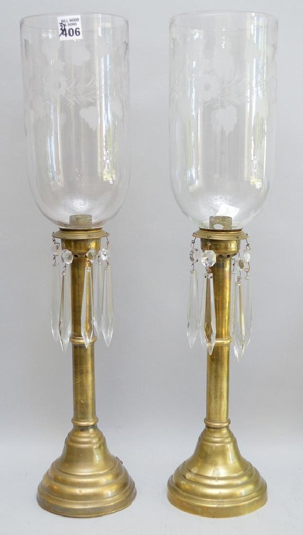 """Pair of brass lamps with etched globes, 21""""h"""