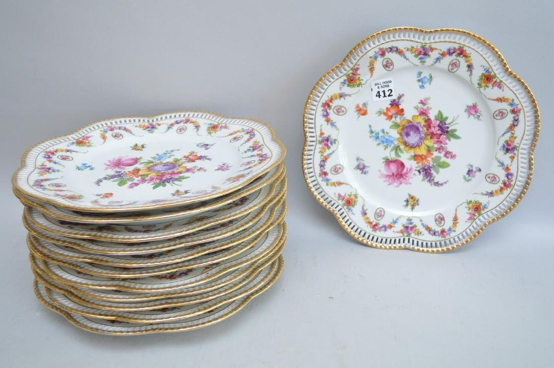 """12 Dresden floral reticulated dinner plates, 10 1/2""""dia"""