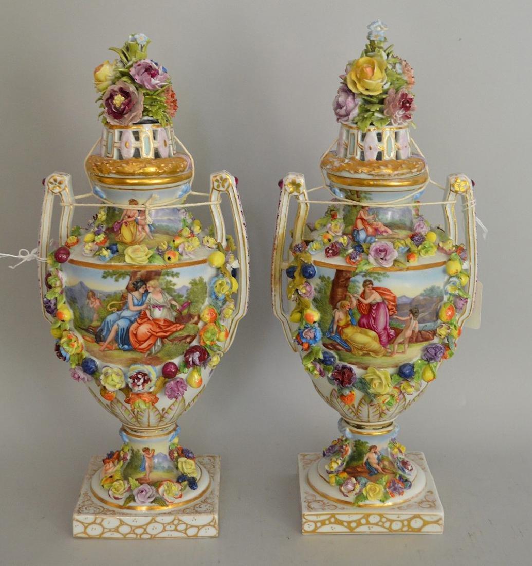 Pair of Carl Thieme German Porcelain Urns & Covers.