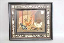 Ornate Inlaid Framed Pietra Dura Plaques of Chickens -