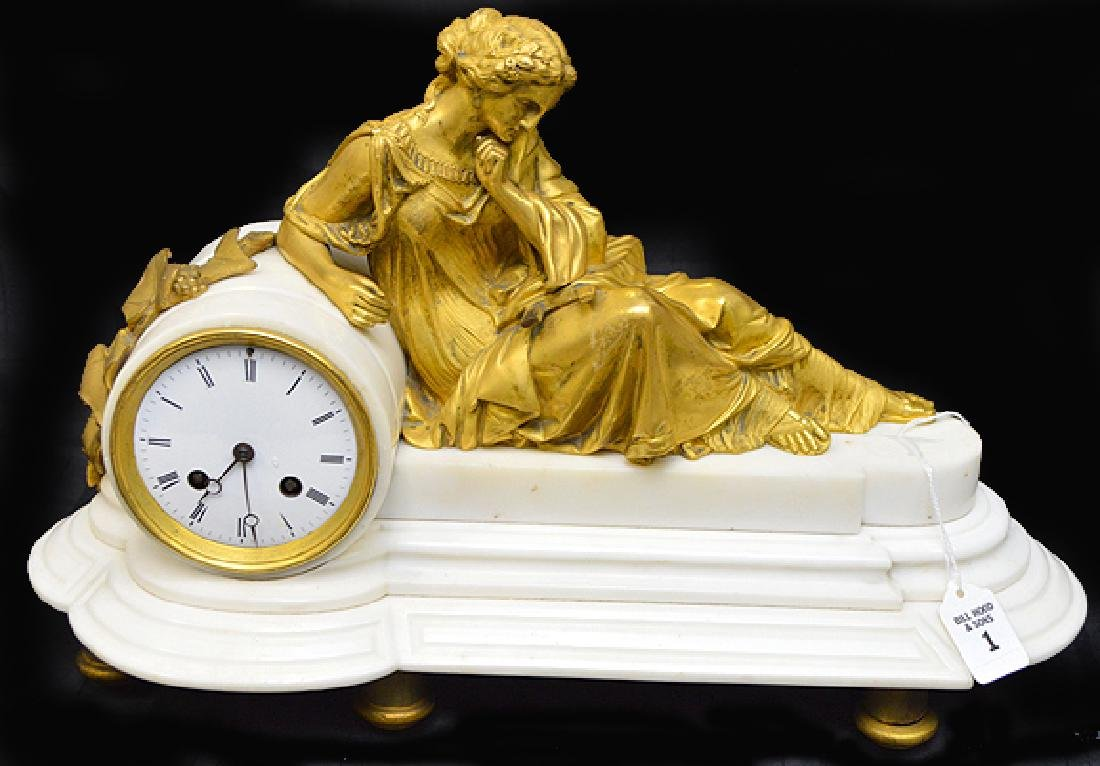 19th Century French White Marble & Gilt Bronze Clock -