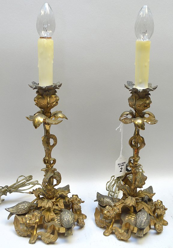 Pair of 19th Century Gilt Bronze Candlesticks. Ornate